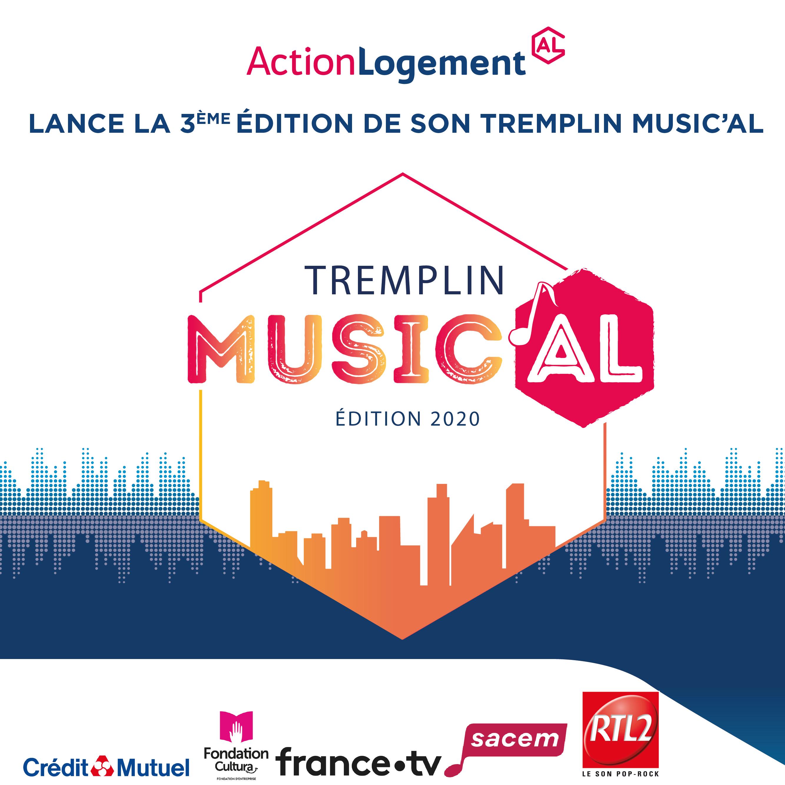 Affiche du Tremplin Music'AL d'Action Logement. Un concours musical solo ou en groupe.